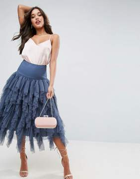 Asos Tulle Midi Prom Skirt with Vertical Ruffles