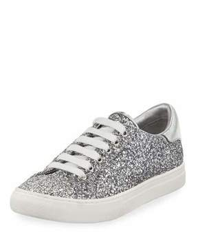 Marc Jacobs Empire Glitter Low-Top Lace-Up Sneaker, Silver