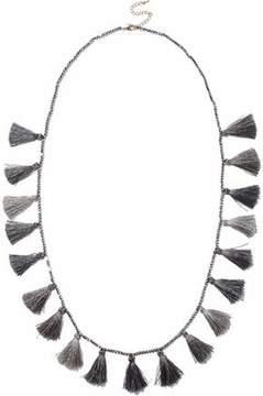 Kenneth Jay Lane Gunmetal-Tone Beaded Tasseled Necklace