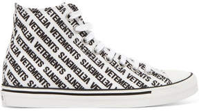 Vetements Logo-print Canvas High-top Sneakers - White
