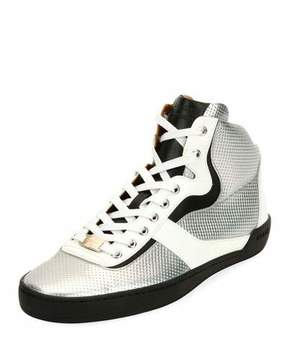 Bally Men's Eroy Embossed Leather High-Top Sneakers, Silver