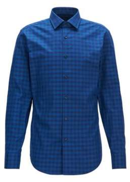 BOSS Hugo Gingham Cotton Dress Shirt, Slim Fit Jenno 15 Blue