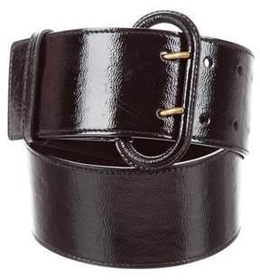 Saint Laurent Patent Leather Buckle Waist Belt