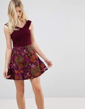 AX Paris Bardot Cross Front Jacquard Skater Dress