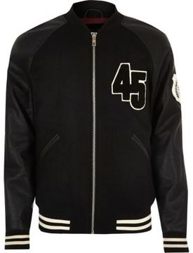 River Island Mens Black varsity bomber jacket