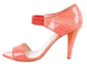 Oscar de la Renta Marbled Ankle-Strap Sandals