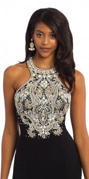 Camille La Vie Jersey Beaded Halter Evening Dress