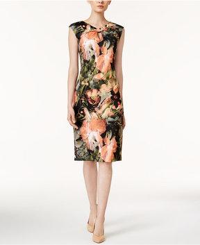 ECI Floral-Print Knotted Key-Hole Sheath Dress