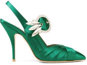 Miu Miu Crystal-embellished Satin Pumps - Emerald