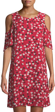 Cynthia Steffe Cece By Gravity Ditsy Cold-Shoulder Floral-Print Dress