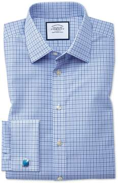 Charles Tyrwhitt Slim Fit Non-Iron Poplin Blue and Sky Blue Cotton Dress Shirt French Cuff Size 14.5/33