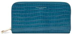 Aspinal of London Continental Clutch Zip Wallet In Deep Shine Topaz Small Croc