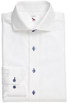 Lorenzo Uomo Men's Trim Fit Texture Stripe Dress Shirt