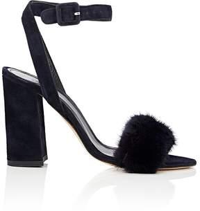 Barneys New York Women's Suede & Mink Ankle-Strap Sandals