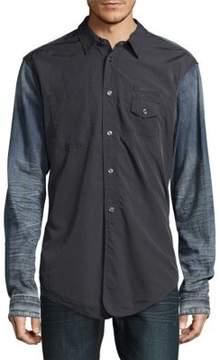 PRPS Denim Detail Cotton Button-Down Shirt