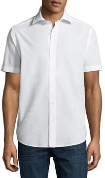 Neiman Marcus Seersucker Short-Sleeve Sport Shirt
