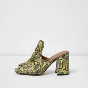 River Island Womens Yellow leather snakeskin print stud mules