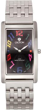 Croton Mens Silver And Black Dial Rectangular Strap Watches