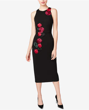 Betsey Johnson Embroidered Floral-Applique Midi Dress