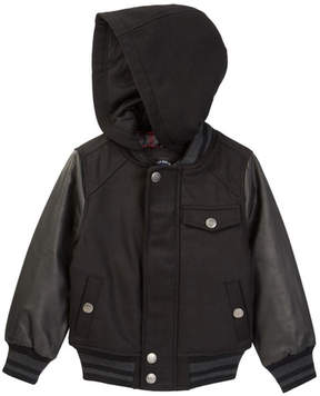 Urban Republic Wool Varsity Jacket with Faux Leather Sleeves (Toddler & Little Boys)