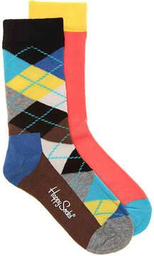 Happy Socks Boys Argyle Youth Crew Socks - 2 Pack