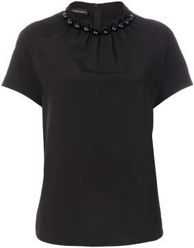 Emporio Armani embellished neck blouse