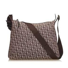 Christian Dior Vintage Vintage   Diorissimo Jacquard Shoulder Bag   Brown x brown