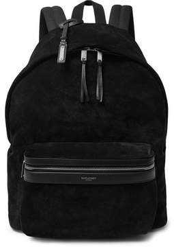 Saint Laurent City Leather-Trimmed Suede And Canvas Backpack