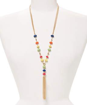 Carole Coral & Blue Drop Tassel Necklace