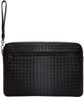 Bottega Veneta Black Intrecciato Galaxy Front Zip Pouch