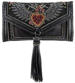 Mary Frances That's Amore Embellished Crystal Winged Heart Leather Crossbody Handbag