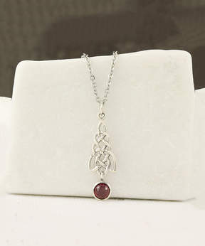 Celtic Garnet & Sterling Silver Knot Circle Pendant Necklace
