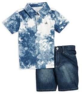 Calvin Klein Jeans Little Boy's Two-Piece Tie Dye Polo and Denim Shorts Set