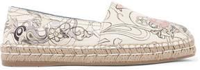 Prada Logo-print Textured-leather Espadrilles - White