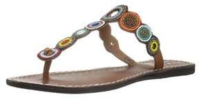 Mia Womens Apache Leather Split Toe Casual T-strap Sandals.