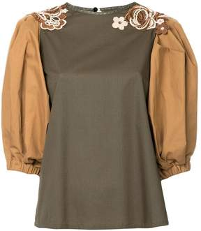 Antonio Marras floral appliqué colour block blouse