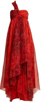 Etro Chennai one-shoulder paisley-print silk dress