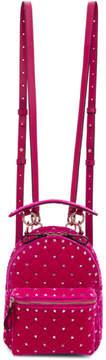 Valentino Pink Garavani Small Velvet Rockstud Backpack