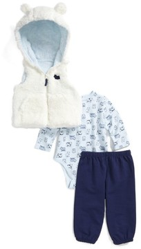 Little Me Infant Boy's Bear Vest, Bodysuit & Pants Set