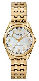 Timex Ladies Mother-of-Pearl Goldtone Analog Watch