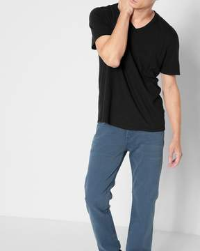 7 For All Mankind Short Sleeve Raw V-Neck Tee in Black