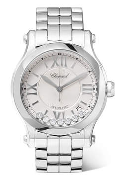 Chopard Happy Sport 36 Stainless Steel And Diamond Watch - White gold