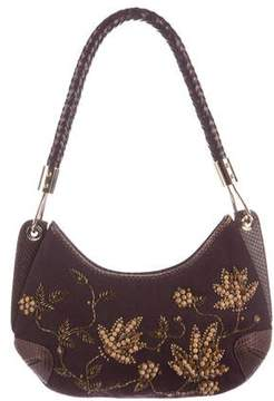 Michael Kors Embellished Leather-Trimmed Hobo - BROWN - STYLE