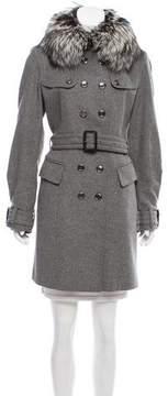 Burberry Fur Trimmed Wool Coat