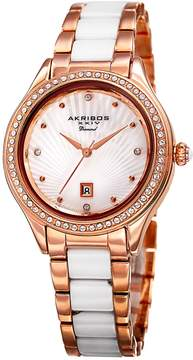 Akribos XXIV Mother Of Pearl Dial Ladies Two Tone Watch