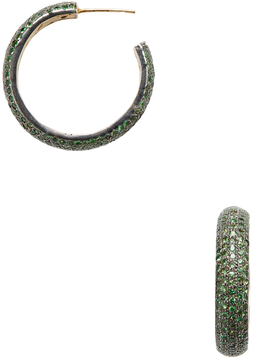 Artisan Women's 18K Yellow Gold & Tsavorite Hoop Earrings
