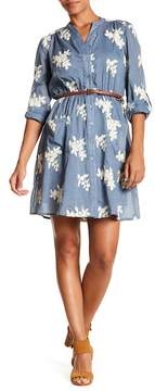 ECI Embroidered Voile Shirt Dress