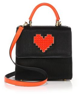 Les Petits Joueurs Alex Lolita Mini Pleated Leather Heart Satchel