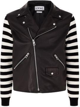 Loewe Knitted Sleeve Biker Jacket