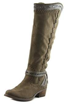 Not Rated Sansa Women Round Toe Canvas Brown Knee High Boot.